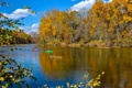 Картинка осень, лес, небо, облака, деревья, река, лодка