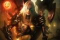 Картинка девушка, оружие, магия, череп, доспехи, WoW, World of Warcraft