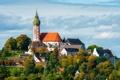 Картинка купол, Андексское аббатство, монастырь, Kloster Andechs, дома, Deutschland, Мюнхен