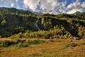Картинка лес, трава, снег, деревья, горы, камни, водопад
