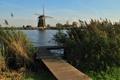 Картинка небо, причал, канал, мостик, ветряная мельница
