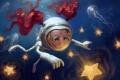 Картинка звезды, скафандр, арт, медузы, девочка, рыжая, подводный мир
