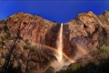Картинка природа, скала, парк, фото, водопад, радуга, Калифорния