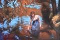 Картинка осень, задумчивость, река, дерево, листва, нарисованная девушка