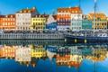 Картинка отражение, краски, корабль, дома, Дания, набережная, Копенгаген