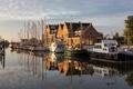 Картинка город, река, корабли