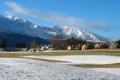 Картинка зима, деревья, горы, посёлок, winter