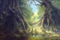 Картинка лес, корни, озеро, пруд, арт, фантастический мир, гигантские
