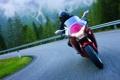 Картинка дорога, красный, мотоцикл, хонда