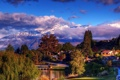 Картинка облака, New Zealand, Wanaka, озеро, деревья, дома, снег
