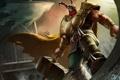 Картинка море, брызги, молот, арт, рога, шлем, Arena of Heroes
