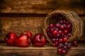 Картинка корзина, яблоки, еда, виноград, фрукты