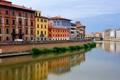 Картинка небо, река, дома, Италия, Пиза