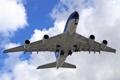 Картинка самолёт, реактивный, пассажирский, широкофюзеляжный, двухпалубный, Airbus A380, четырехдвигательный