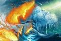 Картинка лед, дерево, огонь, tree, frostfire