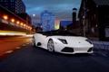 Картинка Lamborghini Murcielago, автообои, supercar, ламборгини, ночь, улица, LP640 Roadster