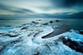 Картинка зима, море, пейзаж, закат, природа, лёд