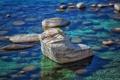 Картинка природа, скала, озеро, камни, Lake Tahoe, Bonsai Rock
