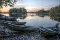 Картинка hdr, landscape, Sunset, Finland, Boats