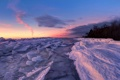 Картинка закат, пейзаж, река, лёд