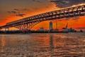 Картинка небо, закат, мост, город, дома, Япония, залив