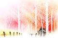 Картинка деревья, дом, рисунок, забор