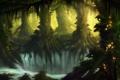Картинка лес, деревья, фантастика, заросли, чаща, арт, водопады