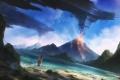 Картинка море, пляж, девушка, огонь, планеты, вулкан, лава