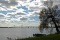 Картинка облака, река, мост, небо, дерево