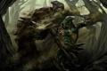 Картинка песок, лес, меч, воин, арт, капюшон, битва