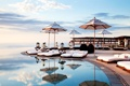 Картинка refections, beautiful, pool, sun beds, parasols