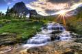 Картинка зелень, вода, солнце, горы, природа, скалы, холмы