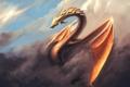 Картинка небо, облака, дракон, крылья, арт