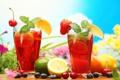Картинка лимон, черника, клубника, лайм, черешня, фруктовый напиток