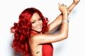 Картинка поза, певица, Rihanna, знаменитость, Рианна, локоны, красные волосы