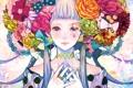 Картинка девушка, цветы, ленты, капля, кольца, аниме, арт