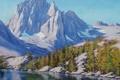 Картинка лес, горы, рисунок, арт, artsaus, sierra mountains nevada