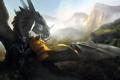 Картинка дракон, арт, всадник, копье
