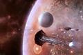 Картинка космос, звезды, планета, корабли, астероиды, eve online, флотилия