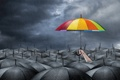 Картинка umbrella, darkness, hope, gray, cheerful bright colors