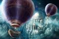 Картинка небо, город, воздушные шары, корабли, арт