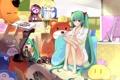 Картинка компьютер, девушка, комната, игрушки, vocaloid, hatsune miku, пицца
