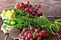 Картинка виноград, миска, фрукты, листики, leaves, grapes, fruits