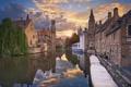 Картинка закат, дома, лодки, канал, Бельгия, Брюгге, городской пейзаж