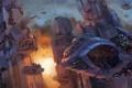 Картинка город, корабли, арт, солдаты, десант