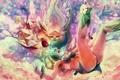 Картинка абстракция, крылья, Девушки, падение