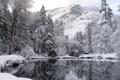 Картинка зима, снег, озеро, отражение, гора, winter nature