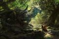 Картинка конь, воин, щит, forest, dragon