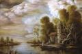 Картинка пейзаж, река, дом, кривое, деревья, хижина, арт