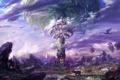 Картинка облака, лучи, пейзаж, город, камни, скалы, магия